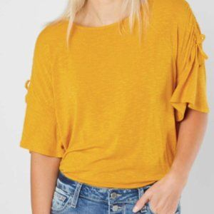 Ribbed Short Sleeve Sweater - Goldenrod